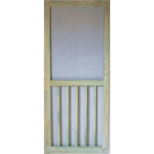 Snavely Kimberly Bay 32 In. W. x 80 In. H. x 1-1/8 In. Thick ACQ Treated Natural Finger Joint Pine Stiles & Rails 5-Bar Screen Door