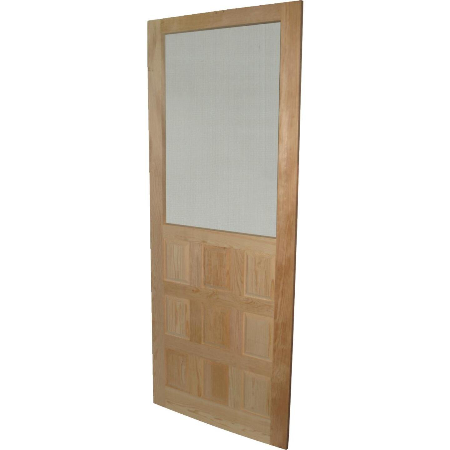 Snavely 32 In. W. x 80 In. H. x 1-1/8 In. Thick Stainable Natural Solid Pine Wood 9-Panel Screen Door Image 1