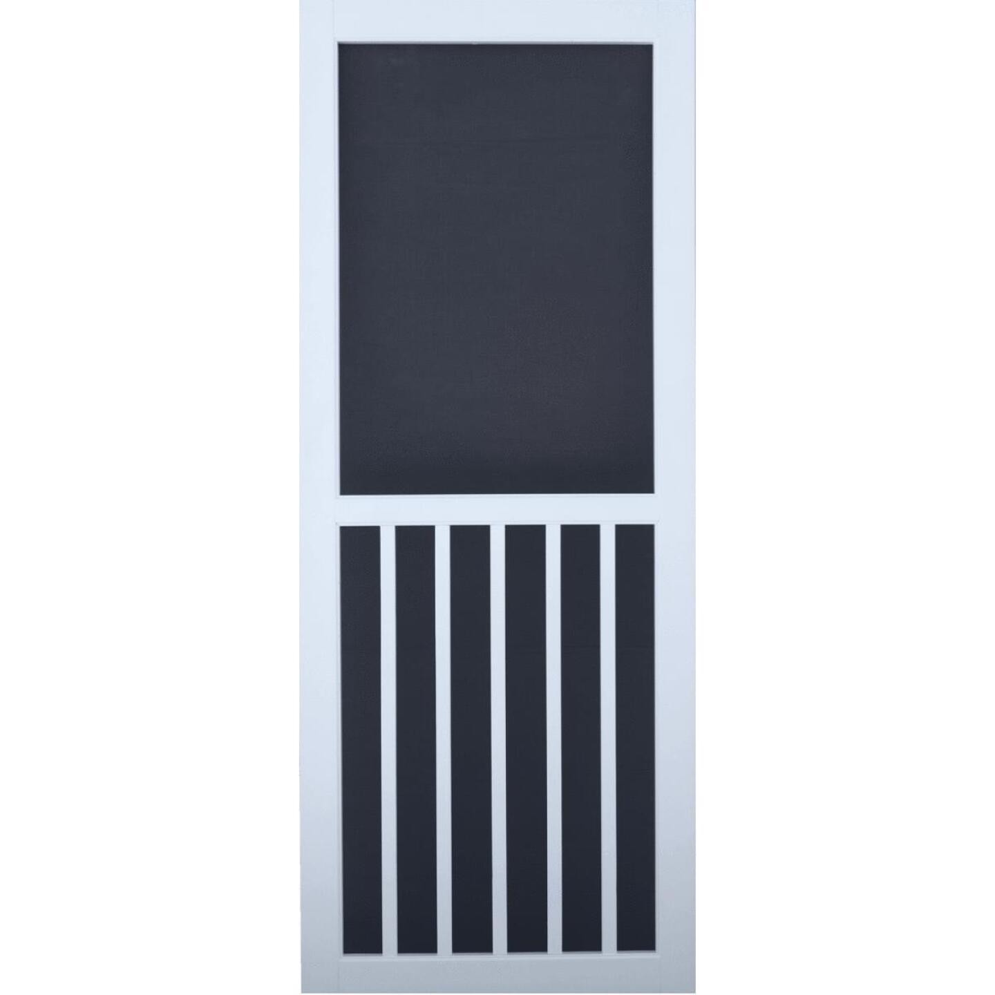 Snavely Kimberly Bay 32 In. W. x 80 In. H. x 1 In. Thick White Vinyl 5-Bar Screen Door Image 1
