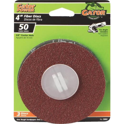Gator 4 In. 50 Grit Fiber Disc (3-Pack)