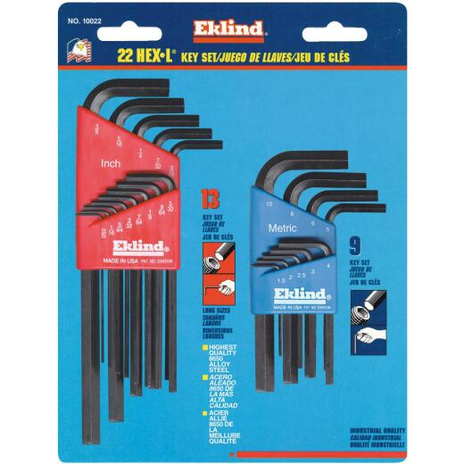 Eklind Combination SAE/Metric Hex Key Set, 22-Piece