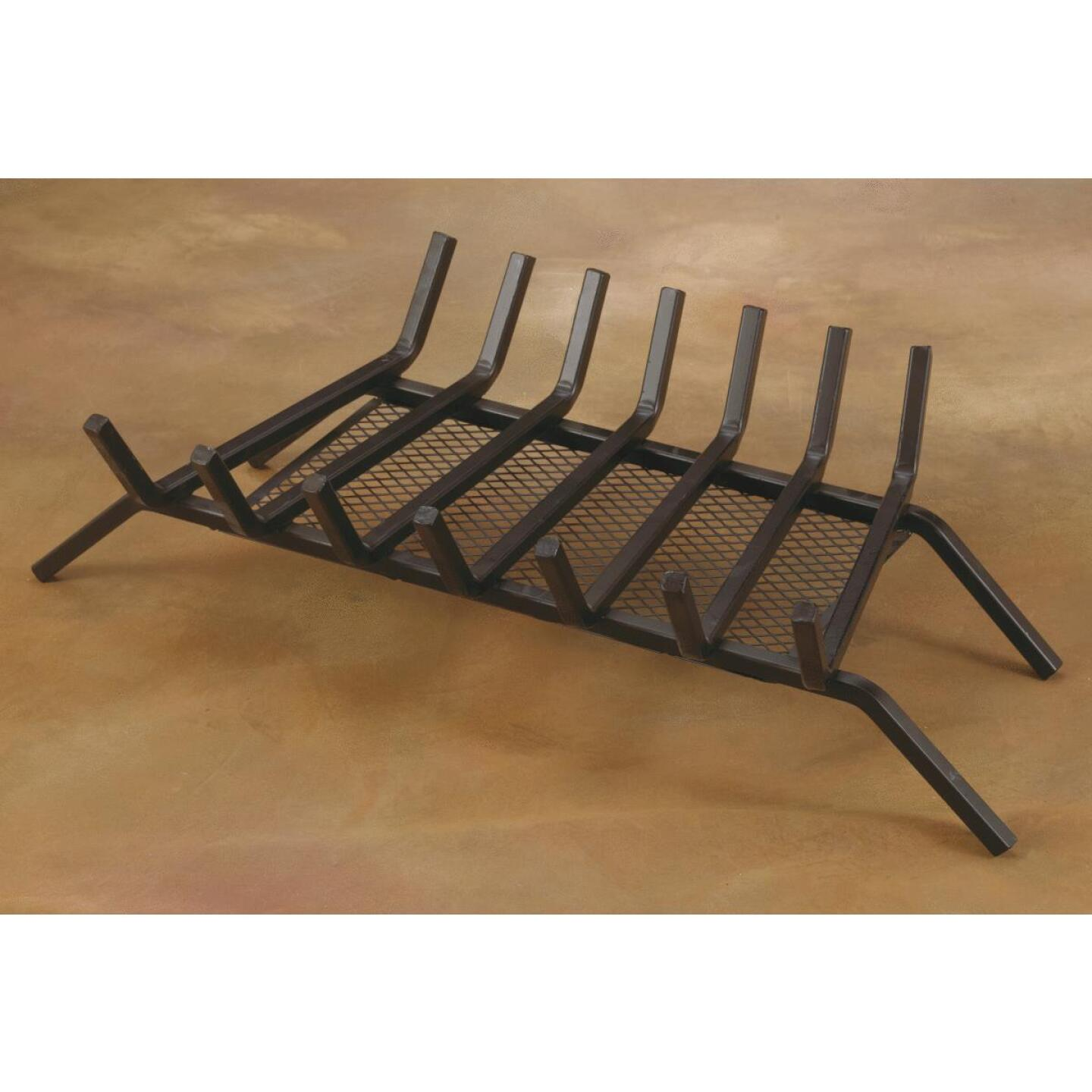 Home Impressions 30 In. Steel Fireplace Grate with Ember Screen Image 2