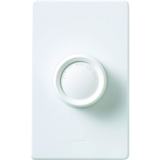 Lutron Ivory/White 3-Speed Single-Pole Rotary Fan Control Switch