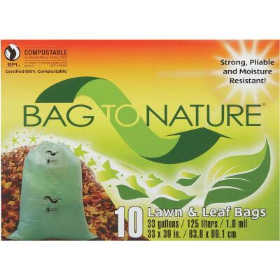 Bag To Nature 33 Gal. Green Compostable Houston Approved Lawn & Leaf Bag (10-Count)