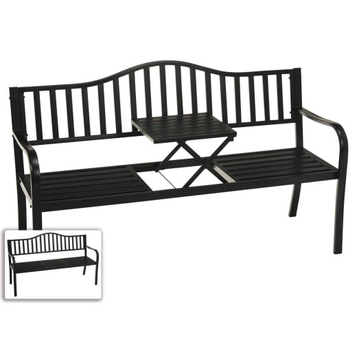 Outdoor Expressions Steel Park Bench with Pop-up Center Table