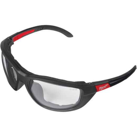 Milwaukee Red & Black Frame Gasketed High Performance Safety Glasses with Clear Lenses