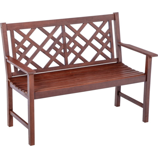Jack Post 4ft. Hardwood Bench with Decorative Back in Oil Finish
