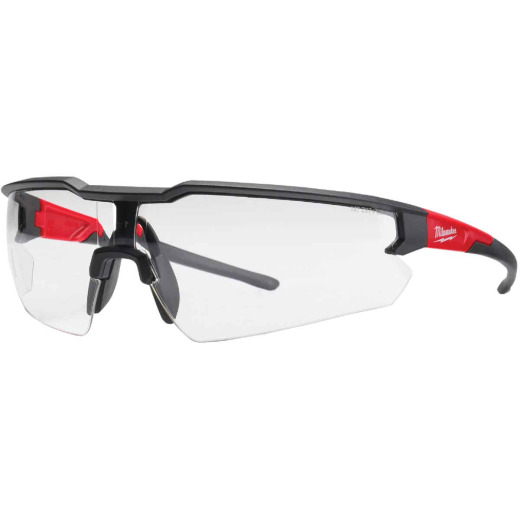 Milwaukee Red & Black Frame Safety Glasses with Clear Anti-Scratch Lenses